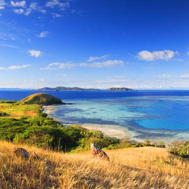 FIJ1071AW View of Mana Island, Mamanuca Islands, Fiji
