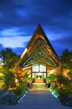 FIJ1079AW Reception of Mana Island Resort at dusk, Mana Island, Mamanuca Islands, Fiji (PR)