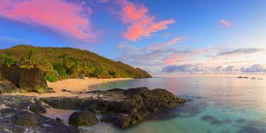 FIJ1088AW Octopus Resort and Waya Island at sunset, Yasawa Islands, Fiji