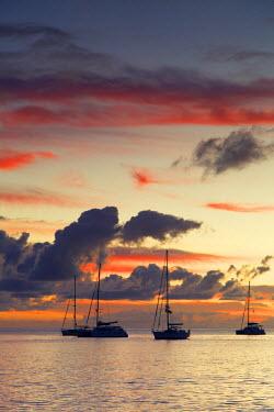 FIJ1089AW Yachts moored at sunset, Waya Island, Yasawa Islands, Fiji
