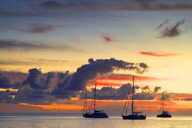 FIJ1090AW Yachts moored at sunset, Waya Island, Yasawa Islands, Fiji