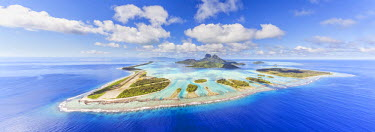 FPO0101AW Aerial view of Bora Bora island with airstrip visible, French Polynesia