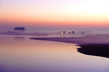 NIS81908 Saltmarsh at Moriaanshoofd at sunset, The Netherlands, Zeeland, Schouwen-Duiveland