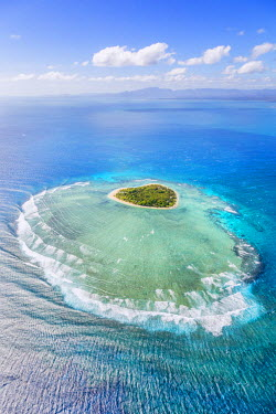 FIJ1160AW Aerial view of Tavarua, heart shaped island, Mamanucas islands, Fiji