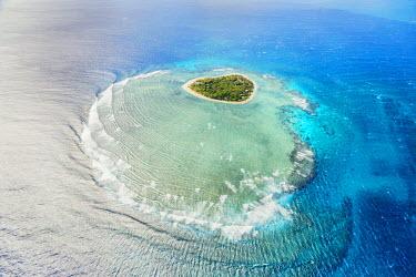 FIJ1161AW Aerial view of Tavarua, heart shaped island, Mamanucas islands, Fiji