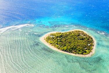 FIJ1162AW Aerial view of Tavarua, heart shaped island, Mamanucas islands, Fiji