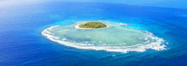 FIJ1163AW Aerial view of Tavarua, heart shaped island, Mamanucas islands, Fiji