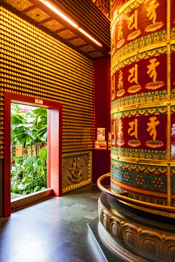 SNG1238 The Vairocana Bhudda Prayer Wheel detail in the Buddha Tooth Relic Temple and Museum, South Bridge Road, Singapore.