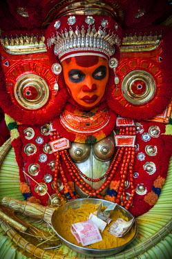 ARSLJA000291 Theyyam (Teyyam, Theyyattam or Thira) - a popular ritual form of worship of North Malabar, Kerala, India