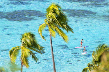FPO0270AW Couple paddleboarding in lagoon, Moorea, Society Islands, French Polynesia