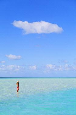 FPO0421AW Woman at Blue Lagoon, Fakarava, Tuamotu Islands, French Polynesia (MR)
