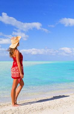 FPO0426AW Woman at Blue Lagoon, Fakarava, Tuamotu Islands, French Polynesia (MR)