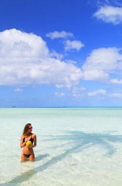 FPO0441AW Woman at Blue Lagoon, Fakarava, Tuamotu Islands, French Polynesia (MR)