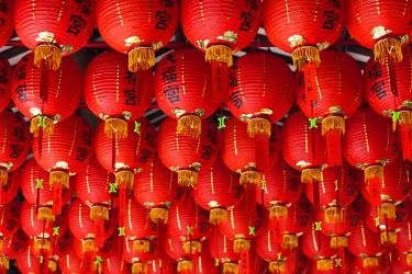 SP01574 Singapore, Chinatown, Thian Hock Keng Temple, Chinese red lanterns