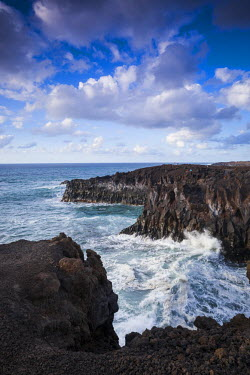 Spain, Canary Islands, Lanzarote, El Golfo, Los Hervideros, coastal blowholes