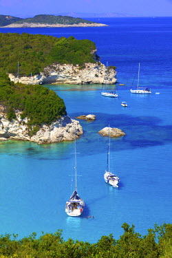 GR14185 Elevated View of Voutoumi Bay, Antipaxos, The Ionian Islands, Greek Islands, Greece, Europe