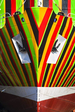 "UK07669 United Kingdom, England, Merseyside, Liverpool, Albert Dock, The �Edmund Gardner"" Dazzle Ship by artist Carlos Cruz-Diez, situated in a dry dock"
