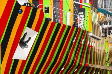 "UK07670 United Kingdom, England, Merseyside, Liverpool, Albert Dock, The �Edmund Gardner"" Dazzle Ship by artist Carlos Cruz-Diez, situated in a dry dock"
