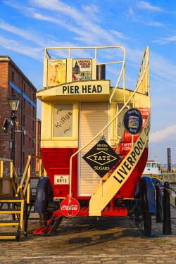 UK07689 United Kingdom, England, Merseyside, Liverpool, Vintage steam powered bus in Albert Dock