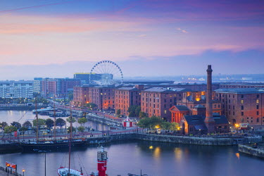 United Kingdom, England, Merseyside, Liverpool, View of Albert Docks and the Wheel of Liverpool,