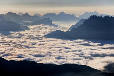 CLKRG17171 Low fog at Agordino, from le Selle pass, Trentino alto Adige, Italy