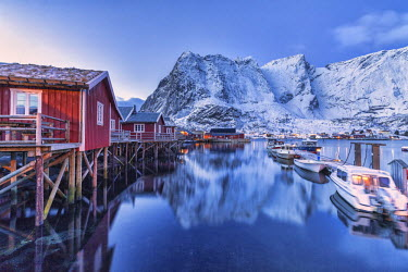 CLKRM24560 Typical red houses reflected in the sea at dusk. Reine. Lofoten Islands Northern Norway Europe