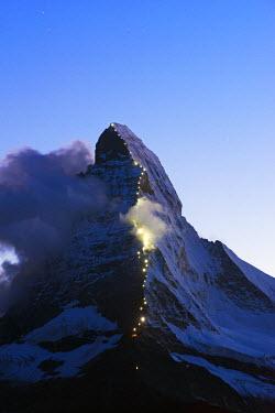 SWI7657 Europe, Switzerland, Valais, Zermatt, Matterhorn (4478m), illumination in honour of first ascent in 1865, 150th anniversary