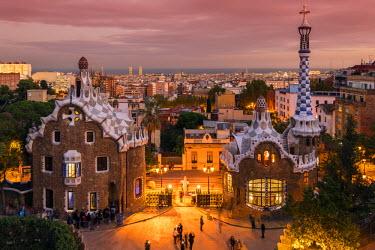 SPA6601AW Park Guell with city skyline behind at dusk, Barcelona, Catalonia, Spain