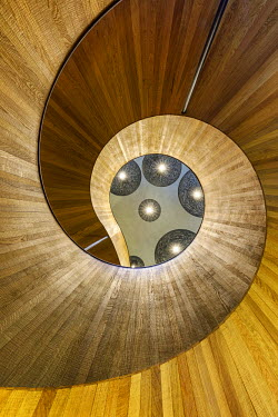 ENG12632AW United Kingdom, England, London, citizenM Hotel Spiral Staircase