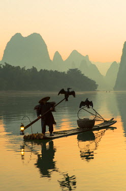 CH10520AW Cormorant fisherman on Li River at dawn, Xingping, Yangshuo, Guangxi, China