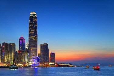 CH10625AW Hong Kong Island skyline and International Finance Centre (IFC) at sunset, Hong Kong, China