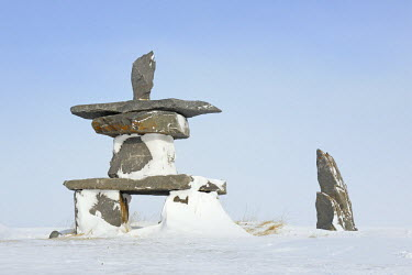 NIS225258 Inuktchuk covered by snow, Canada, Manitoba, Churchill