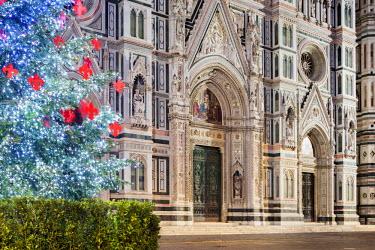 ITA5050AW Italy, Italia. Tuscany, Toscana. Firenze district. Florence, Firenze. Piazza Duomo, Duomo Santa Maria del Fiore and Christams Tree.