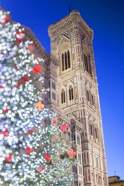 ITA5051AW Italy, Italia. Tuscany, Toscana. Firenze district. Florence, Firenze. Piazza Duomo, Duomo Santa Maria del Fiore and Christams Tree.