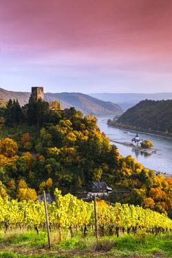 GER8953AW Burg Gutenfels at sunset, Kaub, Rhineland-Palatinate, Germany