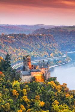 GER8962AW Burg Katz and romantic Rhine, Sankt Goarhausen, Rhineland-Palatinate, Germany
