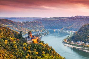 GER8963AW Burg Katz and romantic Rhine, Sankt Goarhausen, Rhineland-Palatinate, Germany
