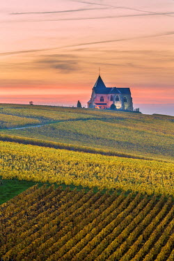 FRA8959AW Chavot Courcourt church at dusk, Champagne Ardenne, France