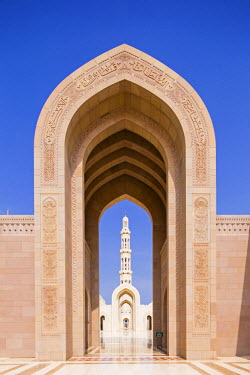 OMA2631AW Oman. Muscat Governorate, Muscat. The Sultan Qaboos Mosque, was a gift to the nation to mark the 30th year of the Sultan's reign. Completed in 2001, the mosque can hold up to 20,000 worshippers.