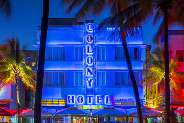 US11834 Art deco district, Ocean Drive, South Beach, Miami Beach, Miami, Florida, USA