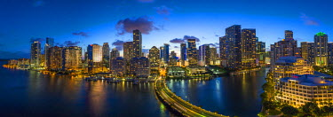 US11851 View from Brickell Key, a small island covered in apartment towers, towards the Miami skyline, Miami, Florida, USA