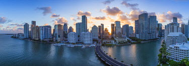 US11852 View from Brickell Key, a small island covered in apartment towers, towards the Miami skyline, Miami, Florida, USA