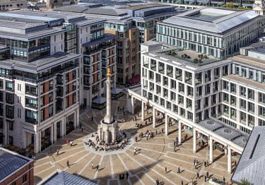 The Paternoster Square in the City of London seen from the top of St. Paul's Cathedral.