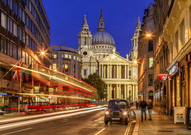 St. Paul's Cathedral in London at dusk seen from Ludgate Hill.