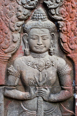 HMS0535553 Cambodia, Siem Reap Province, Angkor Temples complex, listed as World Heritage by UNESCO, Banteay Kdei Temple built in mid 12th century/early 13th century by King Jayavarman VII, bas-relief