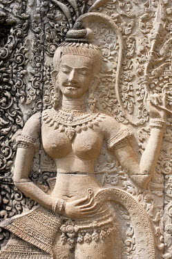 HMS0535730 Cambodia, Siem Reap Province, Angkor Temples complex, listed as World Heritage by UNESCO, Angkor Wat Temple of the 12th century, sculpture of apsara (celestial dancer) on the outside wall