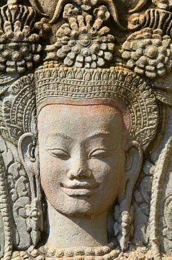 HMS0551853 Cambodia, Siem Reap Province, Angkor Temples complex, listed as World Heritage by UNESCO since 1992, Angkor Wat temple, XIIth century, relief sculpture of Apsara, heavenly and holy dancers of Khmer ki...