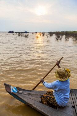 HMS1917789 Cambodia, Siem Reap Province, floating village of Kompong Pluk on Lake Tonle Sap
