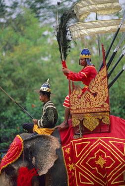 HMS0542660 Thailand, Bangkok region, Samphran elephant ground, reconstitution of an elephant fight