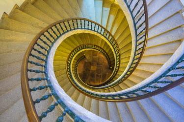 ES03201 Triple spiral staircase of floating stairs, Convent of Santo Domingo de Bonaval, Santiago de Compostela, Galicia, Spain
